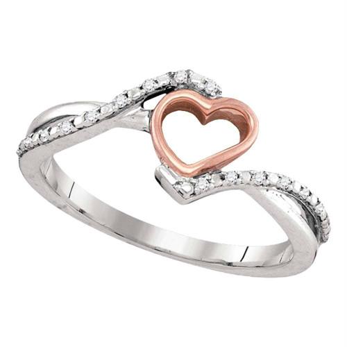10k White Gold Diamond 2-tone Pink Rose-tone Womens Teen Slender Heart Love Ring 1/12 Cttw