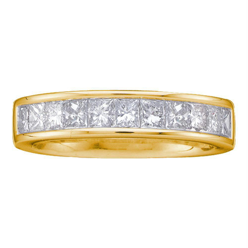 14kt Yellow Gold Womens Princess Channel-set Diamond Single Row Wedding Band 1 Cttw - Size 8
