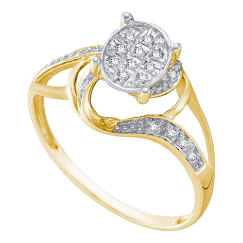 10kt Yellow Two-tone Gold Womens Round Diamond Oval Cluster Split-shank Ring 1/10 Cttw