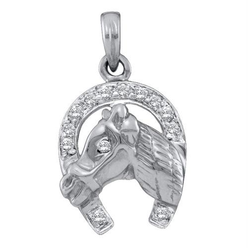 14kt White Gold Womens Round Diamond Lucky Horseshoe Horse Head Pendant 1/10 Cttw