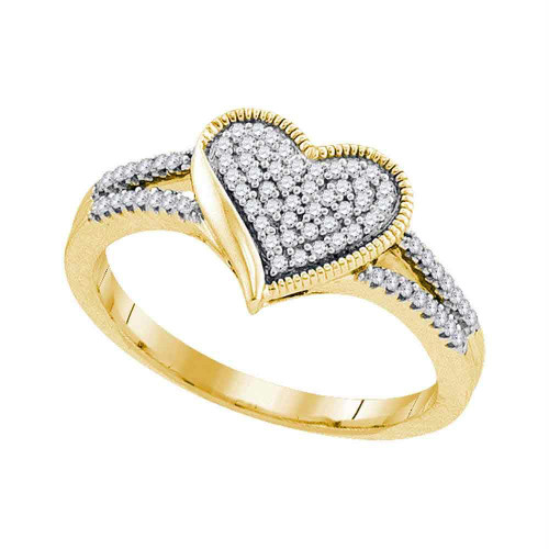 10kt Yellow Gold Womens Round Diamond Milgrain Heart Cluster Ring 1/5 Cttw