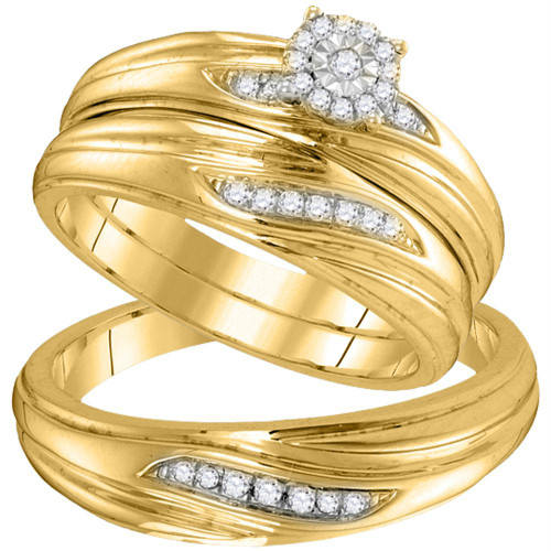 10k Yellow Gold Diamond His & Hers Matching Trio Wedding Engagement Bridal Ring Set 1/5 Cttw
