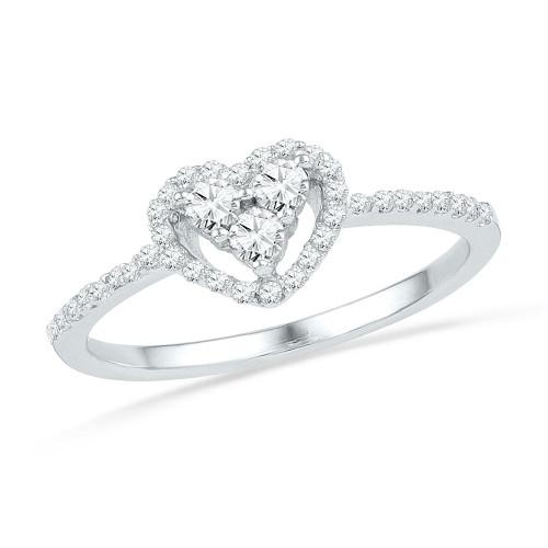 10kt White Gold Womens Round Diamond Slender Framed Heart Cluster Ring 1/4 Cttw