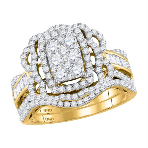 14kt Yellow Gold Womens Round Diamond Bridal Wedding Engagement Ring Band Set 1-3/8 Cttw - 118182-5.5