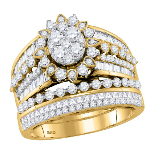 14kt Yellow Gold Womens Round Diamond Cluster Bridal Wedding Engagement Ring Band Set 2.00 Cttw - 118186-6.5