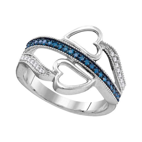 10kt White Gold Womens Round Blue Color Enhanced Diamond Heart Love Ring 1/5 Cttw