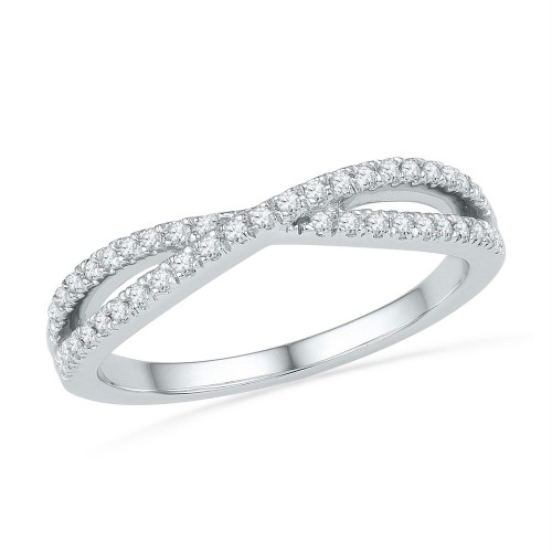 10kt White Gold Womens Round Diamond Crossover Band Ring 1/4 Cttw - 100899-7