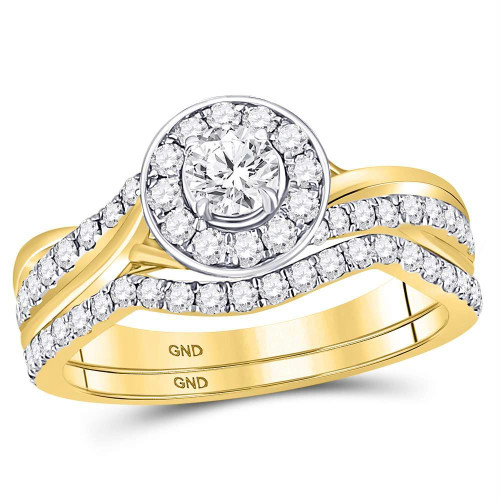 14kt Yellow Gold Womens Round Diamond Halo Bridal Wedding Engagement Ring Band Set 1.00 Cttw - 119932