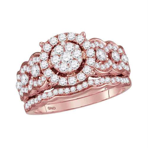 14kt Rose Gold Womens Round Diamond Cluster Bridal Wedding Engagement Ring Band Set 1.00 Cttw