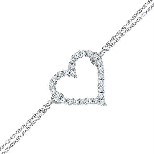 Sterling Silver Womens Round Diamond Heart Bracelet 1/8 Cttw
