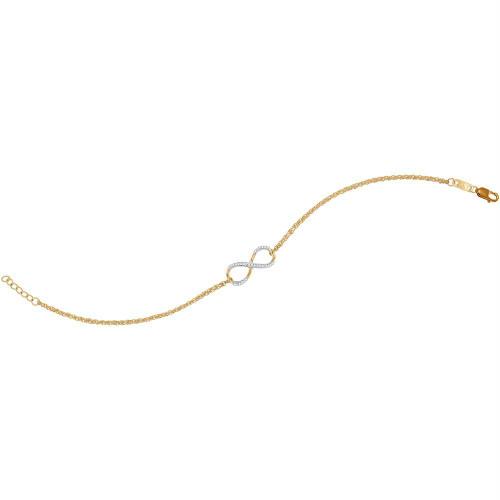 10kt Yellow Gold Womens Round Diamond Infinity Bracelet 1/10 Cttw