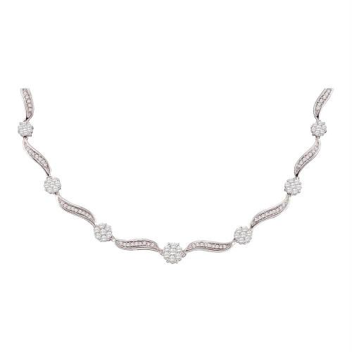 14kt White Gold Womens Round Diamond Flower Cluster Luxury Necklace 2-1/2 Cttw