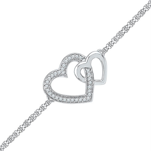 Sterling Silver Womens Round Diamond Double Heart Chain Bracelet 1/10 Cttw