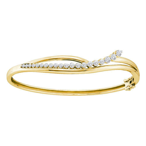 14kt Yellow Gold Womens Round Diamond Graduated Journey Bangle Bracelet 1.00 Cttw