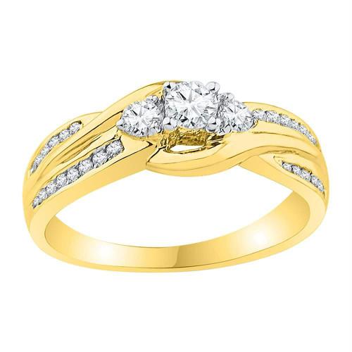 10k Yellow Gold Womens Round 3-stone Diamond Bridal Wedding Engagement Ring 1/2 Cttw