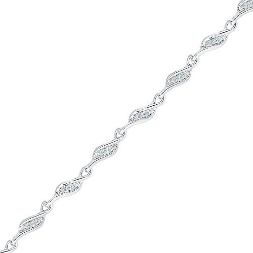 10kt White Gold Womens Round Diamond 3-stone Link Fashion Bracelet 1/4 Cttw