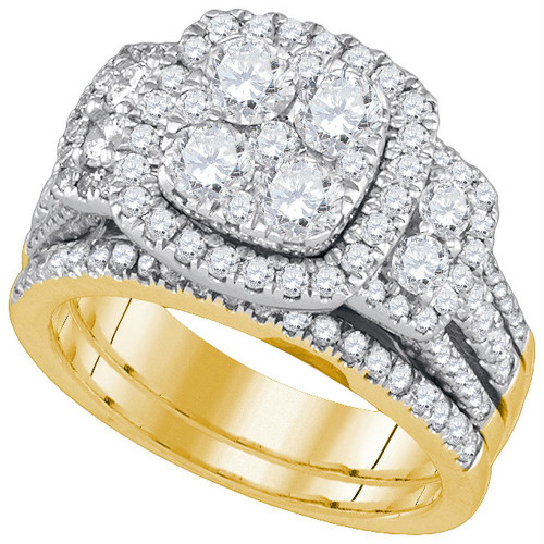 14kt Yellow Gold Womens Round Diamond Cluster Bridal Wedding Engagement Ring Band Set 3.00 Cttw