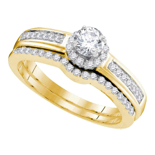 10kt Yellow Gold Womens Round Diamond Bridal Wedding Engagement Ring Band Set 1/2 Cttw - 95293-7