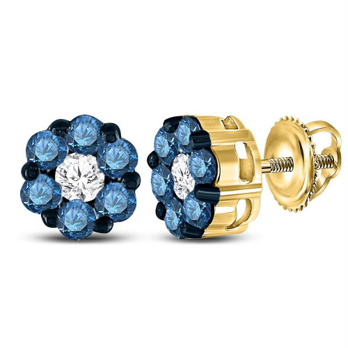 10kt Yellow Gold Womens Round Blue Color Enhanced Diamond Cluster Earrings 1.00 Cttw - 84669