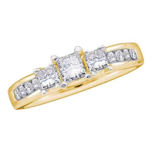 14kt Yellow Gold Womens Princess Diamond 3-stone Bridal Wedding Engagement Ring 7/8 Cttw