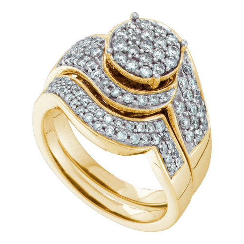 14kt Yellow Gold Womens Round Diamond Cluster Bridal Wedding Engagement Ring Band Set 1.00 Cttw - 47827