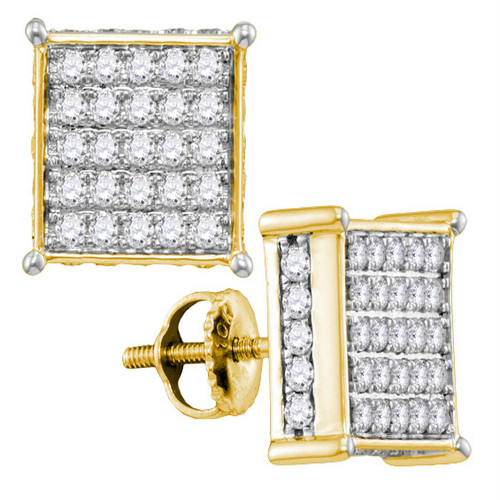 10kt Yellow Gold Womens Round Diamond Square Stud Earrings 1.00 Cttw