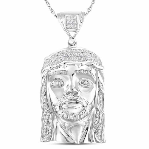 10kt White Gold Mens Round Diamond Jesus Christ Head Face Charm Pendant 1/4 Cttw