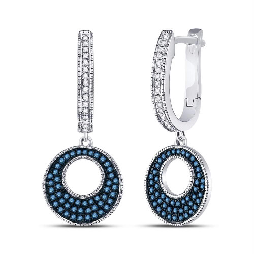 10kt White Gold Womens Round Blue Color Enhanced Diamond Circle Dangle Earrings 3/8 Cttw