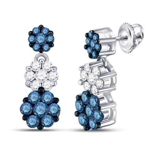 14kt White Gold Womens Color Enhanced Blue Diamond Triple Cluster Dangle Earrings 2.00 Cttw