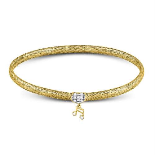 10kt Yellow Gold Womens Round Diamond Eighth Quaver Music Note Stretch Bangle Bracelet 1/10 Cttw