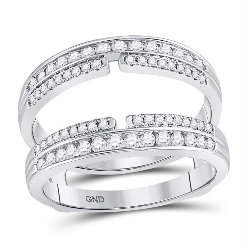 14kt White Gold Womens Round Diamond Double Row Bisected Wrap Ring Guard Enhancer 1/2 Cttw