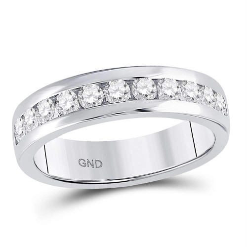 14kt White Gold Mens Round Diamond Single Row Comfort Fit Wedding Band Ring 1.00 Cttw
