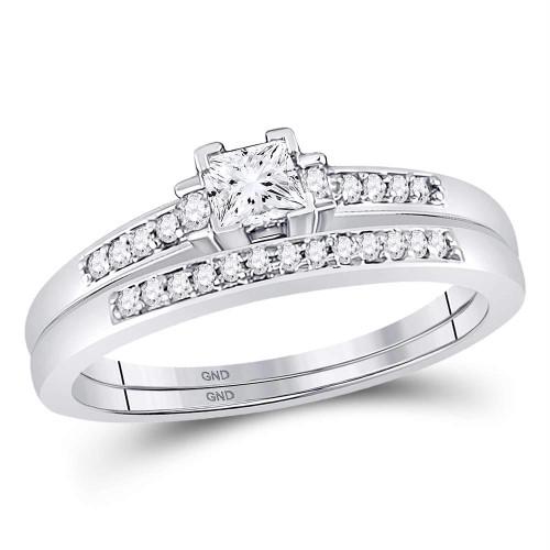 10kt White Gold Womens Princess Diamond Bridal Wedding Engagement Ring Band Set 1/3 Cttw - 107520