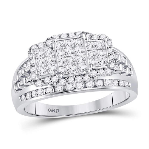 10kt White Gold Womens Princess Diamond Triple Cluster Ring 1-1/20 Cttw