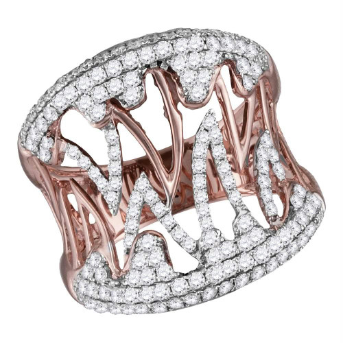 10kt Two-tone Rose White Gold Womens Round Diamond Cocktail Band Ring 1-1/20 Cttw