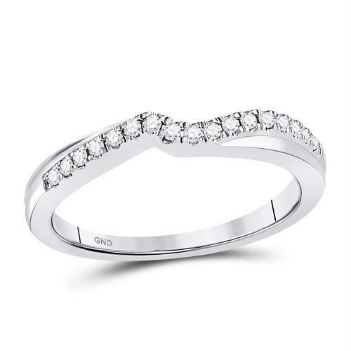 10kt White Gold Womens Round Diamond Contoured Enhancer Wedding Band 1/8 Cttw