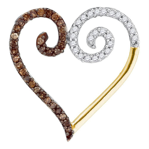 10kt Yellow Gold Womens Round Cognac-brown Color Enhanced Diamond Heart Love Pendant 1/4 Cttw
