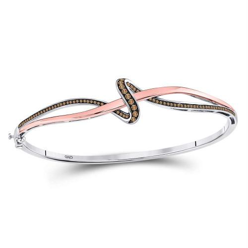 10kt Two-tone Gold Womens Round Brown Color Enhanced Diamond Bangle Bracelet 3/8 Cttw