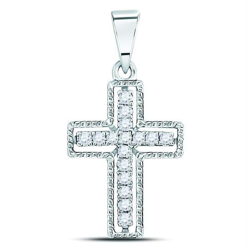 10kt White Gold Womens Round Diamond Outline Cross Pendant 1/10 Cttw