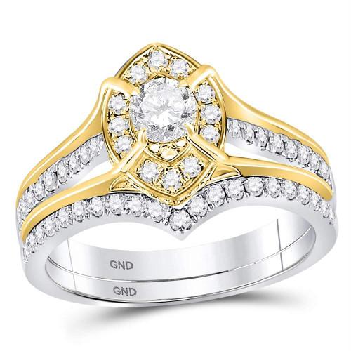14kt Two-tone Gold Womens Round Diamond Bridal Wedding Engagement Ring Band Set 1.00 Cttw - 120094