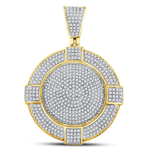10kt Yellow Gold Mens Round Diamond Circle Frame Medallion Charm Pendant 7/8 Cttw