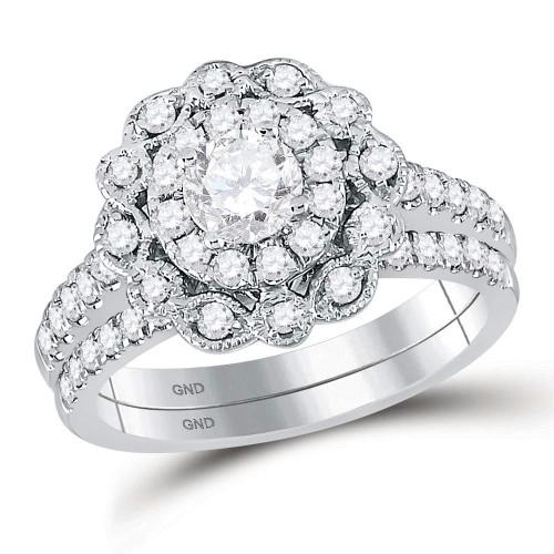 14kt White Gold Womens Round Diamond Bridal Wedding Engagement Ring Band Set 1-1/4 Cttw - 120404-6.5