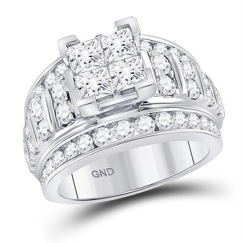 14kt White Gold Womens Princess Diamond Cluster Bridal Wedding Engagement Ring 3.00 Cttw - 113776
