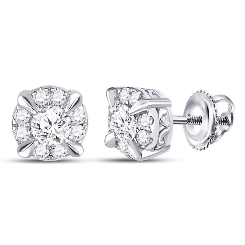 14kt White Gold Womens Round Diamond Solitaire Stud Earrings 1/2 Cttw - 113235