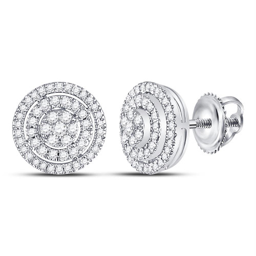 10kt White Gold Womens Round Diamond Concentric Circle Cluster Earrings 1/2 Cttw - 113349