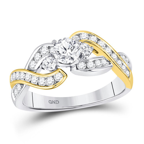 14kt Two-tone Gold Womens Round Diamond 3-stone Twist Bridal Wedding Engagement Ring 1.00 Cttw