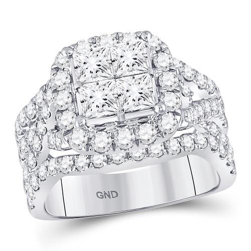14kt White Gold Womens Princess Diamond Cluster Bridal Wedding Engagement Ring 3.00 Cttw - 117608