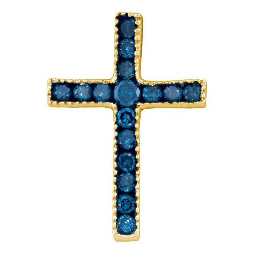 10kt Yellow Gold Womens Round Blue Color Enhanced Diamond Small Cross Pendant 1/6 Cttw