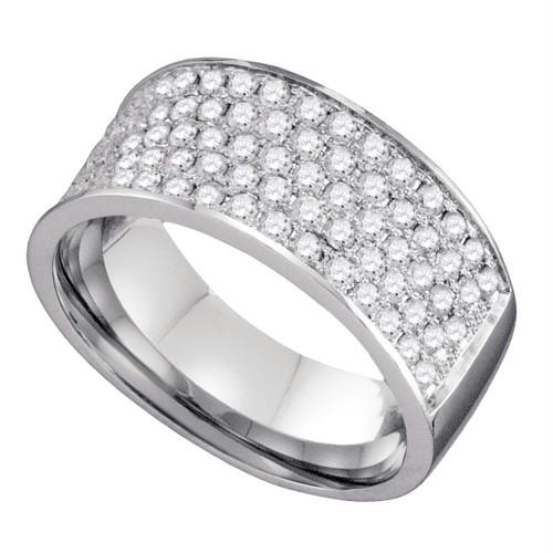 10k White Gold Round Pave-set Diamond Womens Band Ring 1.00 Cttw
