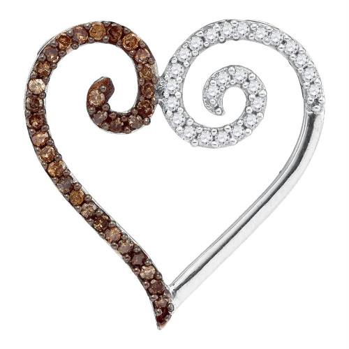 10kt White Gold Womens Round Cognac-brown Color Enhanced Diamond Heart Love Pendant 1/4 Cttw